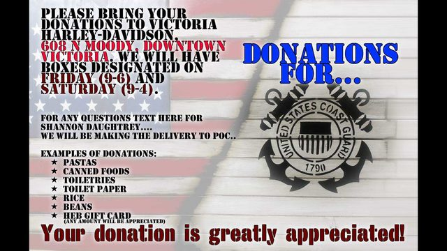 Military Vets team up with Victoria Harley-Davidson to collect donations for Coast Guard families