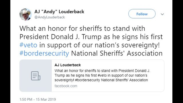 Jackson County Sheriff photographed with President Trump as he signs veto