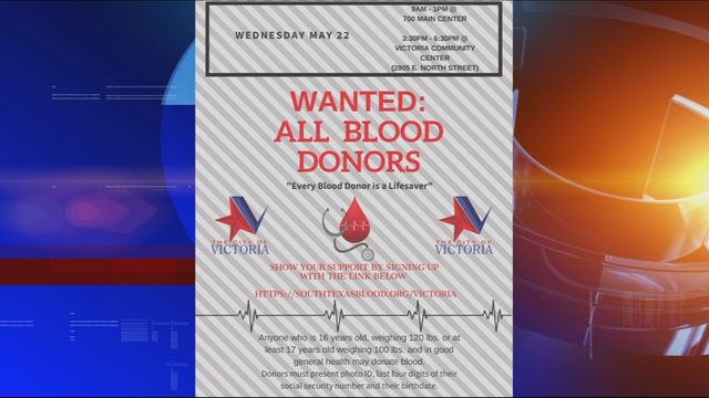Victoria set to hold two blood drives as part of Stop the Bleed campaign