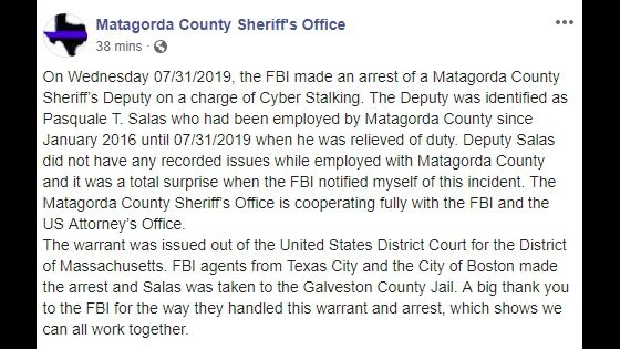 Former Matagorda Deputy who Cyber Stalked child for 5 years arrested by FBI