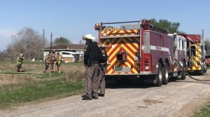 Victoria Fire Department on the scene of a mobile home fire